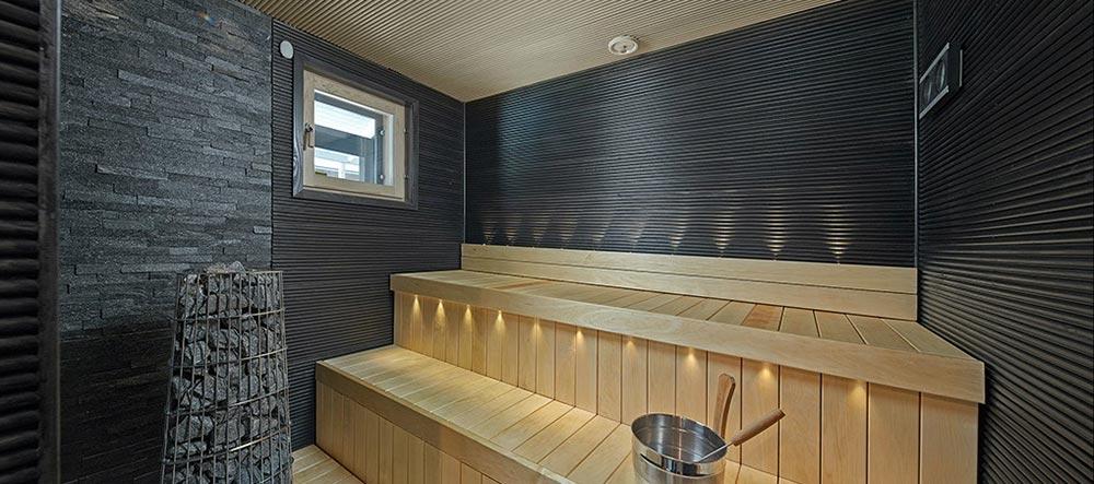 rakennuskohteen sauna valmiina